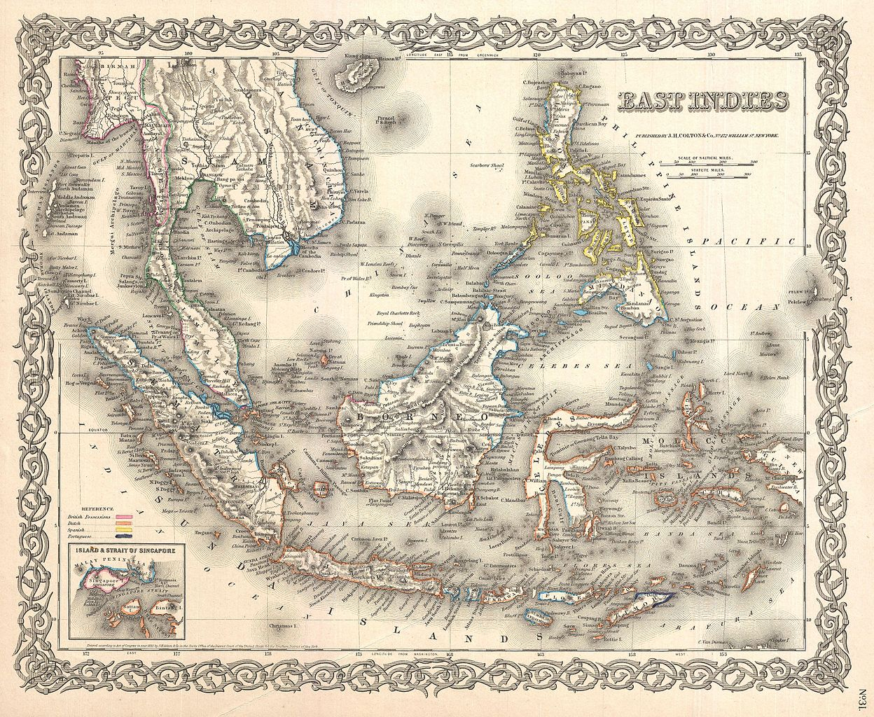 La Family Indonesia Tempo Doeloe 1855 Peta Dekoratif East Indies